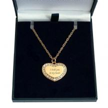 Personalised Rose Gold Heart Necklace with Crystals
